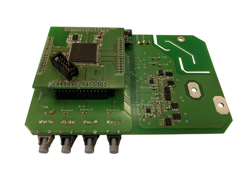 Green printed circuit board with electrical components